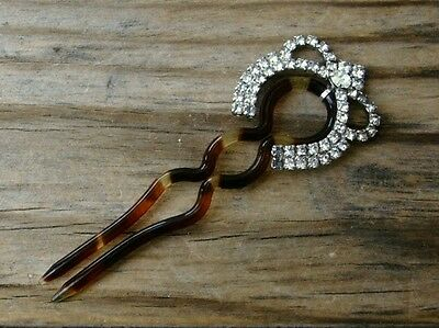 Vintage 1940's Faux Tortoise HAIR COMB/PICK with Rhinestone Attachment