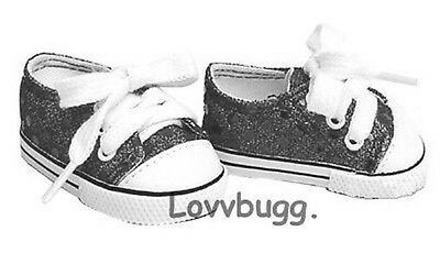 Black Sequins Sneakers Sparkle for American Girl or Boy 18 inch Doll Shoes LOVV!