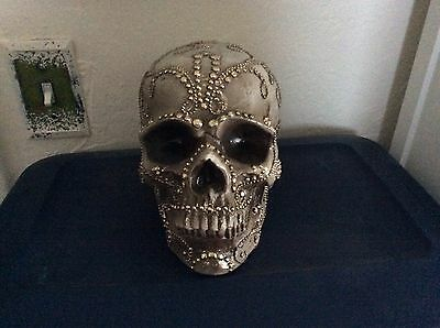 GRANDIN ROAD Halloween Decorated Life Size Skull