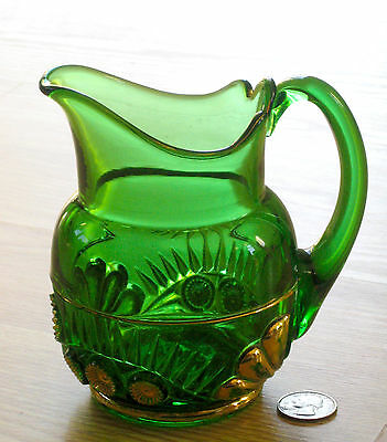 EAPG green ESTHER creamer CREAM pitcher Tooth & Claw Riverside Glass 1896