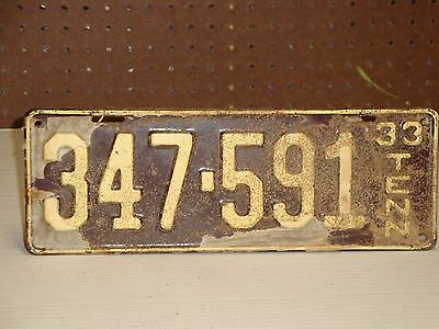 Vintage 1933 Tennessee License Plate Tag Uncirculated