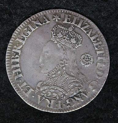 Queen Elizabeth I 1562 Silver 6d Sixpence Milled Coinage Tall Bust Very Fine VF