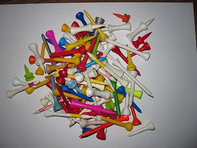 100  x  GOLF TEES - VARIOUS COLOURS, SIZES AND SHAPES - USED