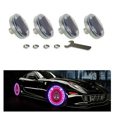 4x Solar Energy LED Car Auto Bike Flash Wheel Tire Valve Cap Light Lamp 13 Modes