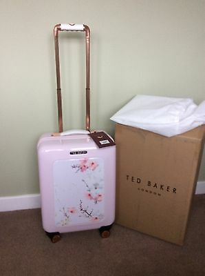 Ted Baker Small Pink Oriental Bloom 4 Wheel Suitcase - New