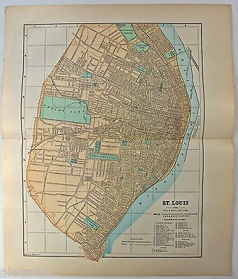 Original 1891 Street & Railroad Map / Plan of St. Louis, MO by Hunt & Eaton