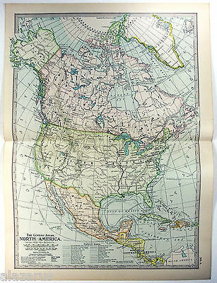 Original 1902 Map of North America by The Century Company