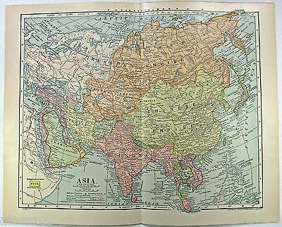 Original 1910 Map of Asia by Dodd Mead & Company