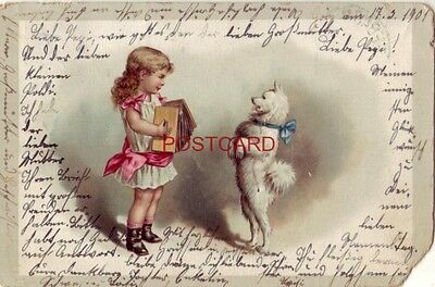 Used PM Seebach GERMANY. Girl plays accordian for dancing dog 1901