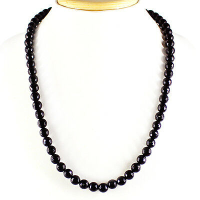 235.00 Cts Natural Exclusive Rich Black Spinel Round Cut Beads Necklace Strand