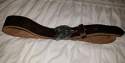 kids leather belt with tiger buckle