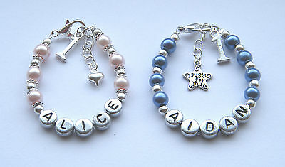 Baby girl or boy first 1st birthday personalised bracelet gift - any name