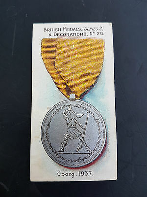 TADDY 1912 cigarette tobacco card BRITISH MEDALS DECORATIONS #20 COORG 1837