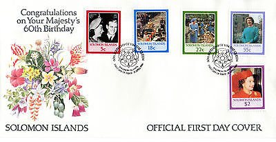 SOLOMON ISLANDS 1986 HM THE QUEEN 60th BIRTHDAY SET OF ALL 5 ON FIRST DAY COVER