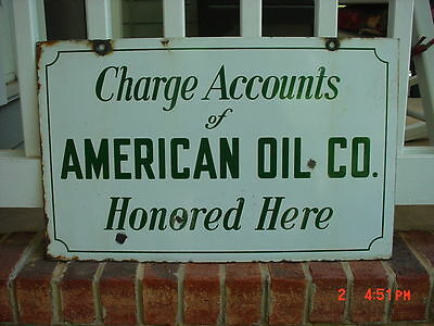 Large American OIL AMOCO  Gasoline GAS PUMP PORCELAIN SIGN 2 SIDED charge card
