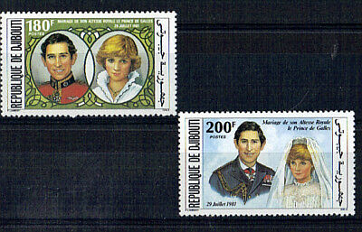 Djibouti 1981 Royalwedding Pair Of Commemorative Stamps Mnh