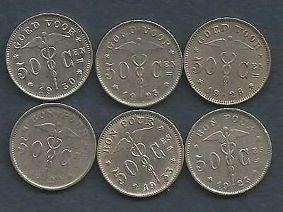 Belgium - 1922 to 1930 - 6 Coins - 50 Centimes