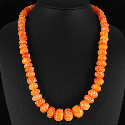 Elegant 545.00 Cts Natural Rich Orange Carnelian Carved Beads Necklace Strand