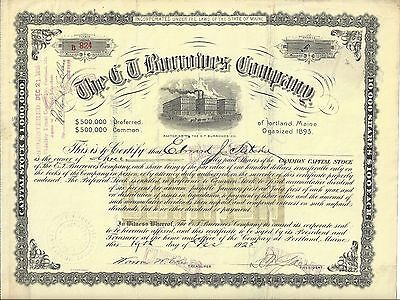 The E.t. Burrowes Company.....1925 Stock Certificate