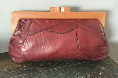 BROWN Leather Clutch Purse Handbag  Kiss lock Clasp 70s VINTAGE FREE SHIPPING!!!