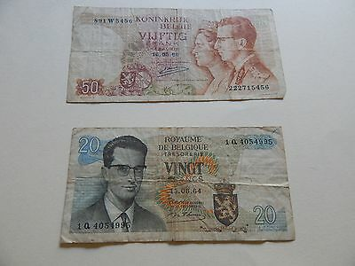 Belgian Francs from 1964 and 1966 (20 francs and 50 francs)