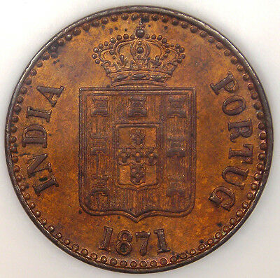 1871 India Portuguese 10 Reis 10R - NGC MS62 - RARE BU Uncirculated Coin!