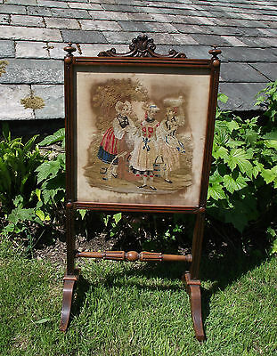 Antique Firescreen Tapestry Embroidery Victorian Screen X