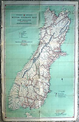 Automobile Association Motor Touring Map New Zealand South Island c1947