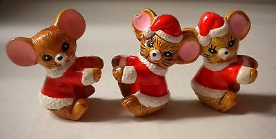 Set of 3 Vintage Candle Climbing Mice Mouse Ceramic Christmas Holiday Decor