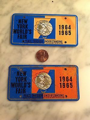 1964-65 Ny Worlds Fair Mini Metal Bicycle License Plates