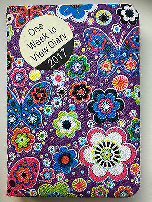 2017 Diary Padded Pocket Size Week to view Purple Butterflies