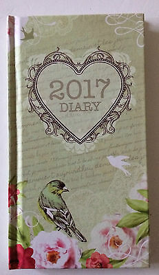 2017 slim hard cover Diary Week to view vintage birds