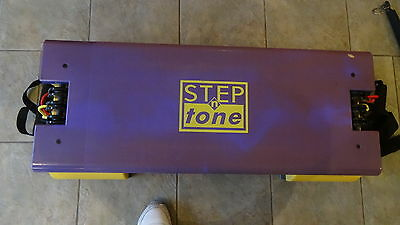 Aerobic stepper with resistance bands & bar. Adjustable height. Fitness workout