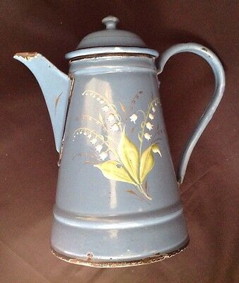 Antique French Hand Painted Blue Enamelware Coffee Pot Graniteware Lily Valley