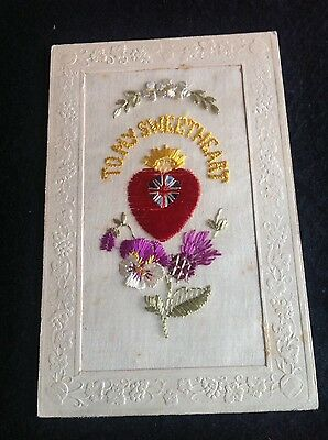 WW1 VINTAGE SILK POSTCARD with heart and flag and thistle - To my sweetheart