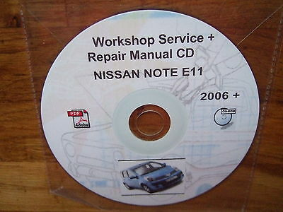 nissan note workshop/service/repair manual on cd (models 2006-2012 approx)