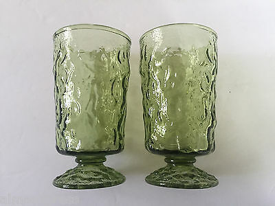 2 Anchor Hocking Avocado Green Glass Milano Lido Footed Juice Glasses, Excellent