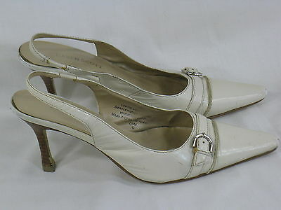 Karen Scott Taupe Leather Slingback Heels Size 6 M US Excellent Condition