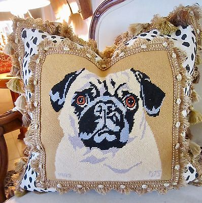 PUG VINTAGE Needlepoint Pillow Cover 20x20 1952 Wool One of a Kind So Chic!