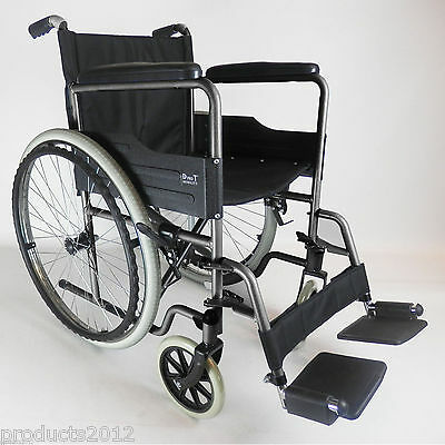 New Lightweight Self Propelled Folding Wheelchair Footrests Puncture Proof Tyres