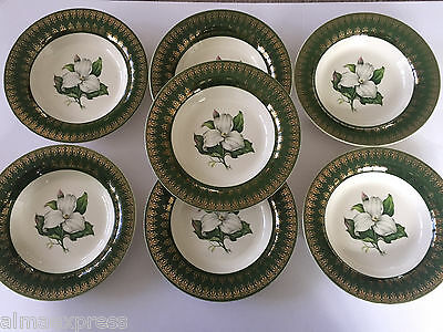 7 American Limoges L'Triomphe TRILLIUM Forest Green 1TS530 RIMMED SOUP BOWLS