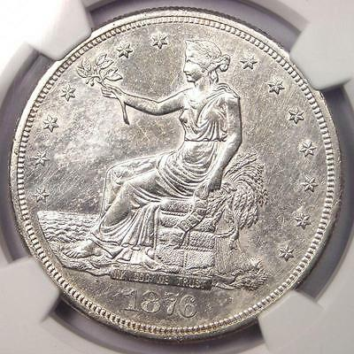 1876-S Trade Silver Dollar T$1 - NGC Uncirculated Details - Rare UNC BU MS Coin!