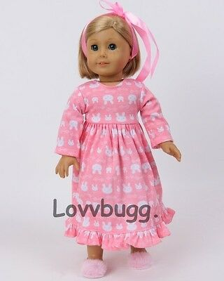 """Pink Bunnies Rabbits Nightgown for 18"""" American Girl Doll Clothes  Best Place"""