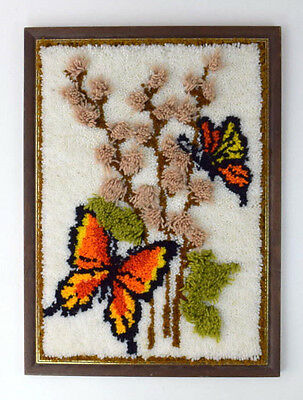 Vintage Butterfly Floral Rug Textured Tapestry Framed Textile Wall Art Hanging