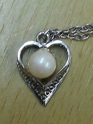 """Vintage Sterling Silver Heart & Cultured Pearl Pendant Necklace 18"""" Chain Boxed"""