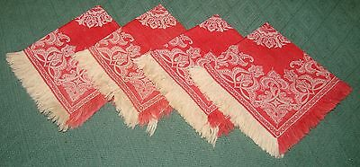 4 Antique Red and White Linen Damask Fringed Napkins - S6A