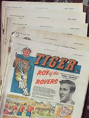 Tiger, featuring Roy of the Rovers. 5x comics lot from July, August & Sept 1960