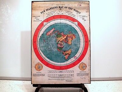 A3 size -  Gleason's new Standard Map of World - FLAT EARTH Map - 'As It Is'
