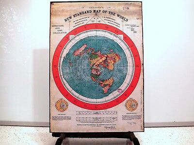 Flat Earth Poster - Gleasons New Standard Map Of The World 1892 (350gsm) A3 size