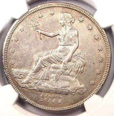 1877-S Trade Silver Dollar T$1 - Certified NGC AU Details Chop Mark - Rare Coin!